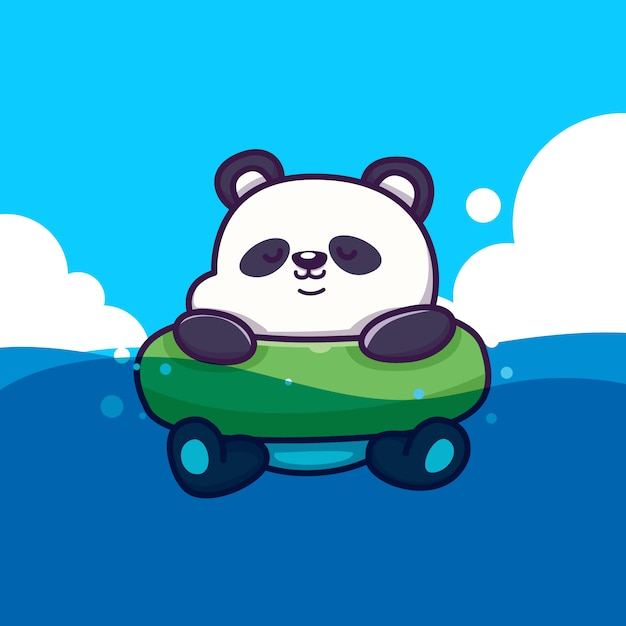 Panda bonito com anel ring icon illustration. conceito de ícone de verão animal isolado. estilo cartoon plana Vetor Premium