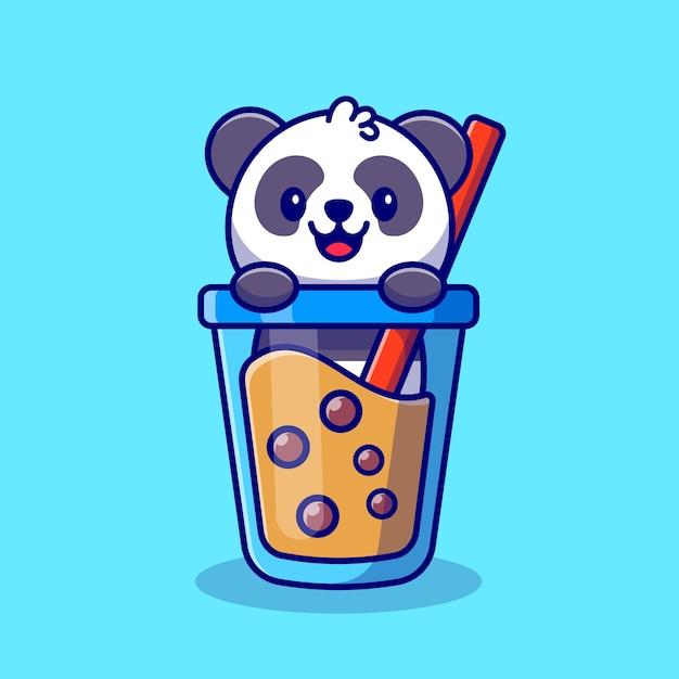 Panda bonito com boba milk tea ícone dos desenhos animados ilustração animal drink icon concept premium. estilo flat cartoon Vetor Premium