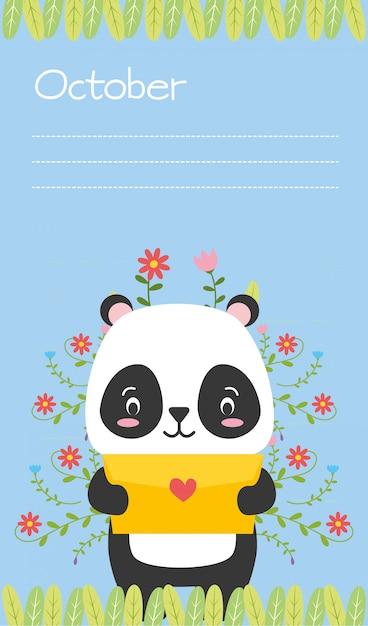 Panda bonito com carta de amor, lembrete de outubro, estilo simples Vetor grátis