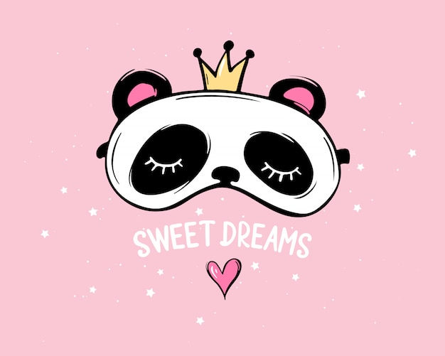 Panda bonito com coroa e olhos fechados. letras de bons sonhos. máscara de dormir. festa do pijama Vetor Premium