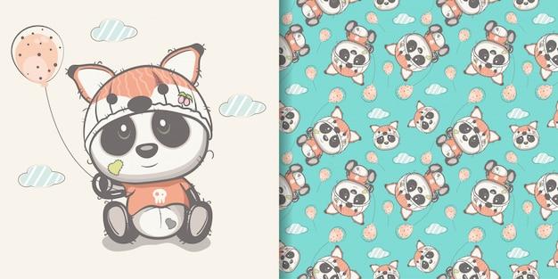 Panda bonito desenhado de mão com conjunto padrão sem emenda Vetor Premium