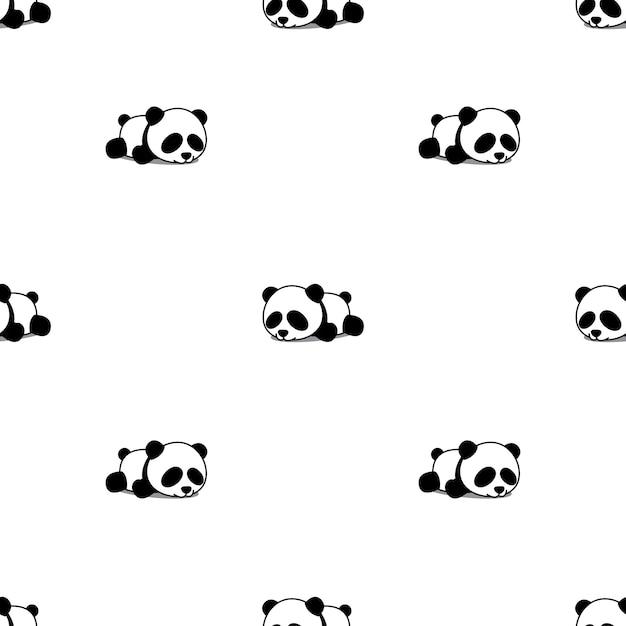 Panda bonito dormindo sem costura padrão   Baixar vetores Premium
