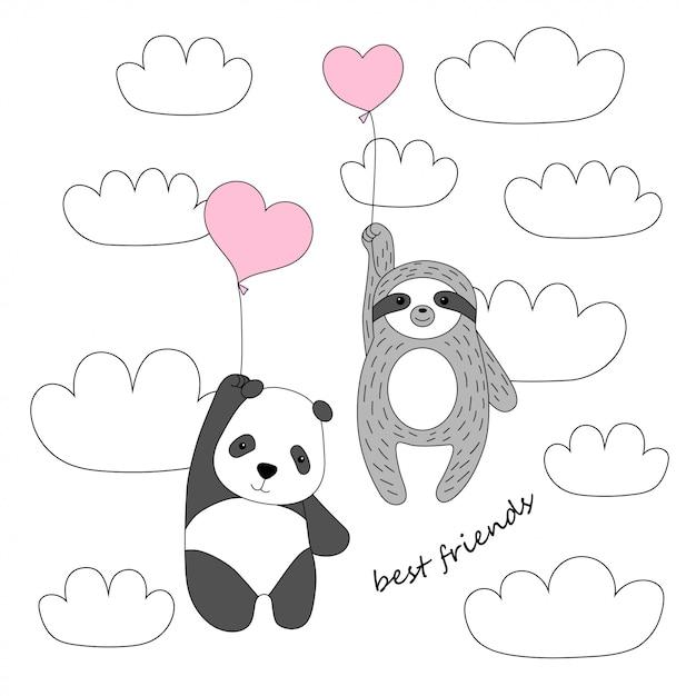 Panda bonito e preguiça voar em balões no céu Vetor Premium
