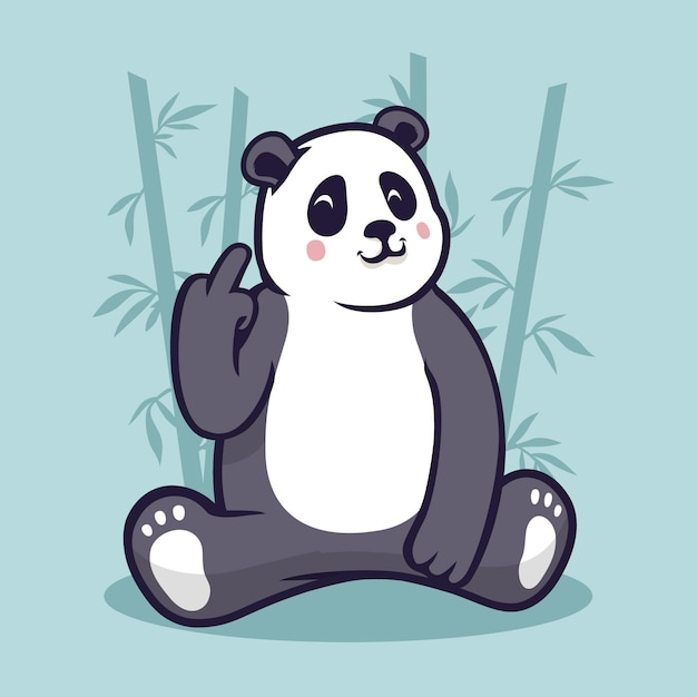 Panda bonito mostrando o símbolo de foda-se Vetor Premium