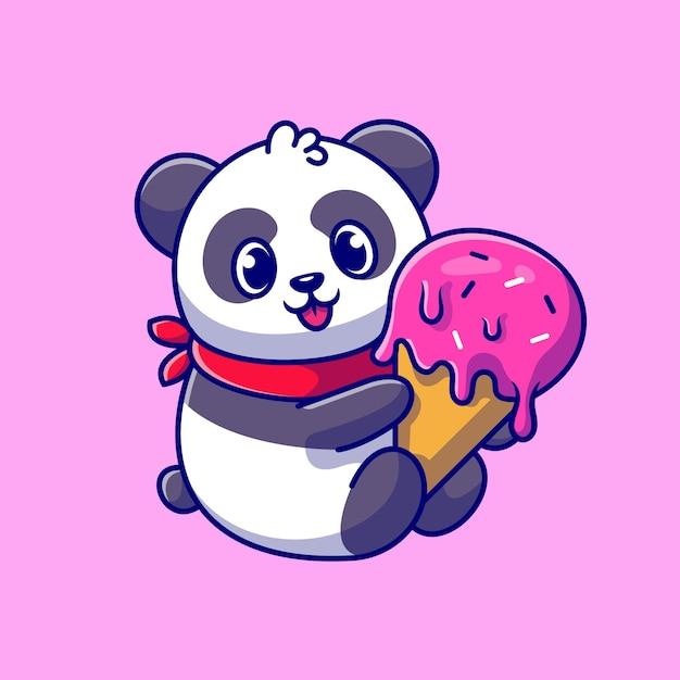 Panda bonito segurando a ilustração de ícone dos desenhos animados de cone de sorvete. Vetor grátis