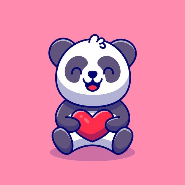 Panda bonito segurando amor ilustração ícone dos desenhos animados. Vetor grátis