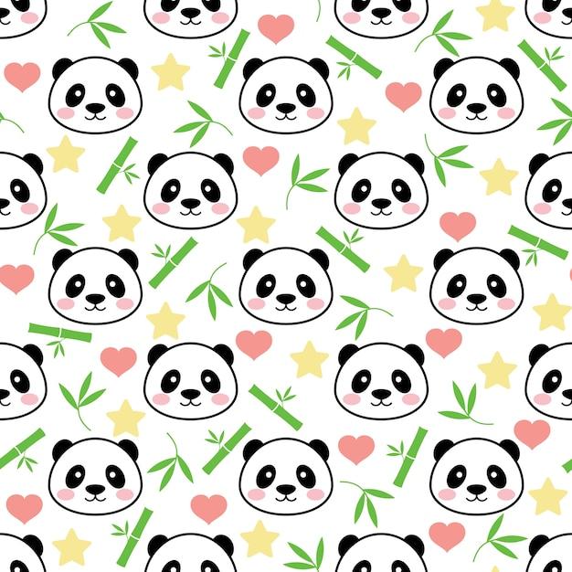 Panda bonito sem costura vector fundo   Baixar vetores Premium