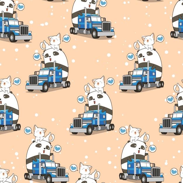 Panda bonito sem emenda e gato no caminhão no padrão de tempo de férias Vetor Premium