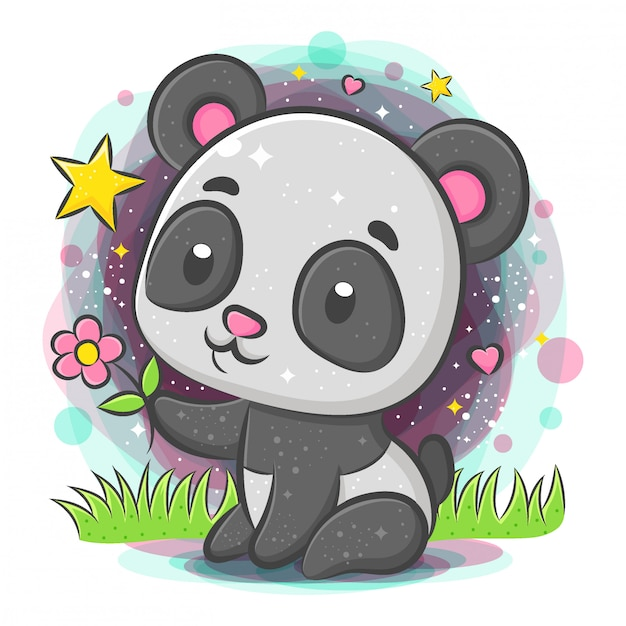 Panda bonito sentado e segurando flor Vetor Premium