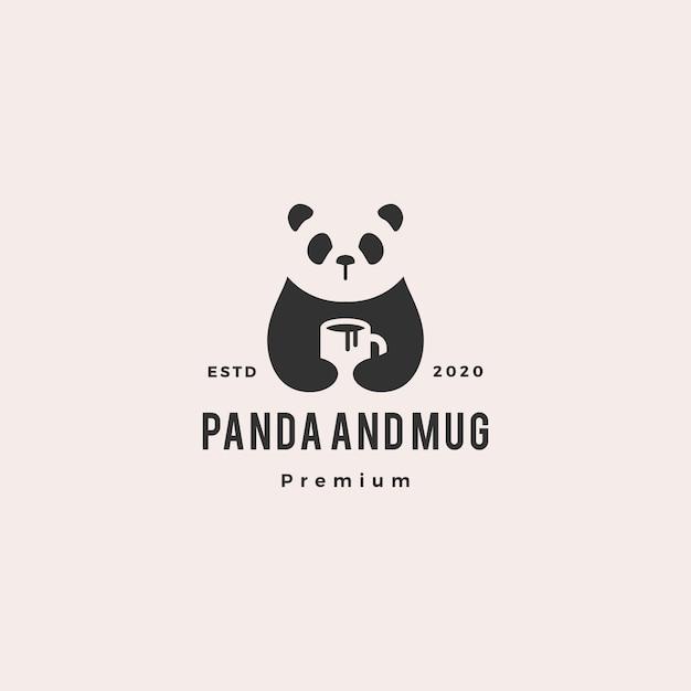 Panda café caneca logotipo vintage hipster retro Vetor Premium