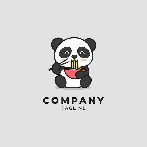 Panda comendo macarrão cartum logotipo Vetor Premium