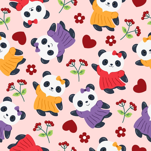 Panda cute cartoon seamless pattern com flor Vetor Premium