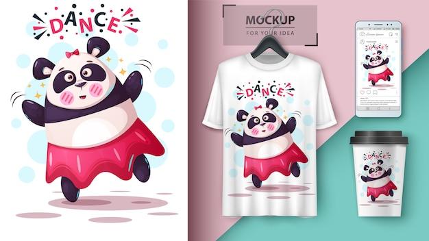 Panda de dança e merchandising Vetor Premium