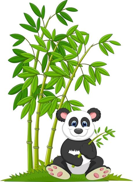 Panda de desenhos animados sentado e comendo bambu Vetor Premium