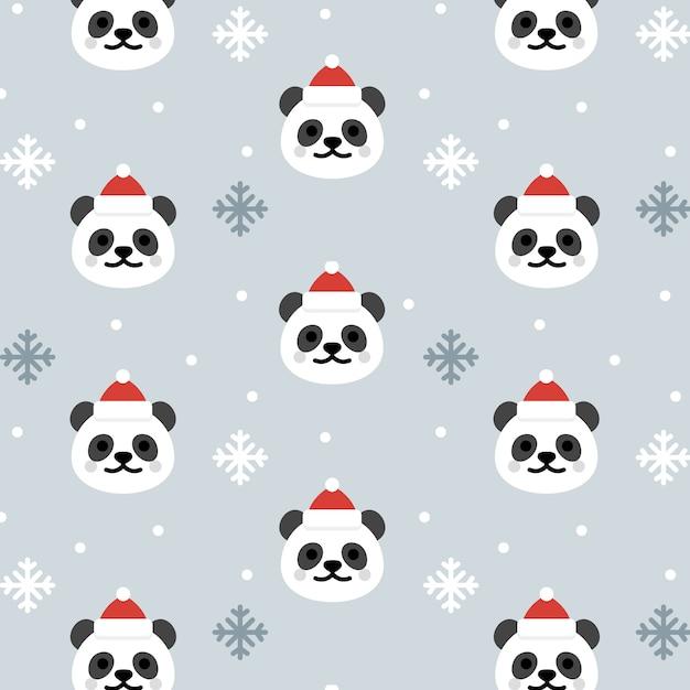 Panda de Natal sem costura de fundo   Baixar vetores Premium