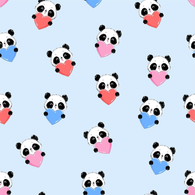 Panda de padrão sem emenda e cartão de ilustração de coração para o dia dos namorados Vetor Premium