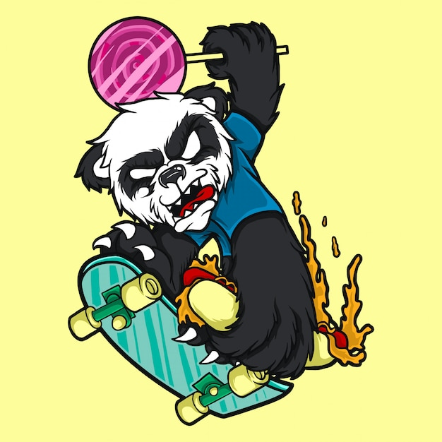 Panda de personagem de ilustração com placa de skate Vetor Premium