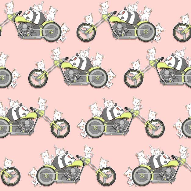 Panda do kawaii e gatos sem emenda e teste padrão da motocicleta. Vetor Premium