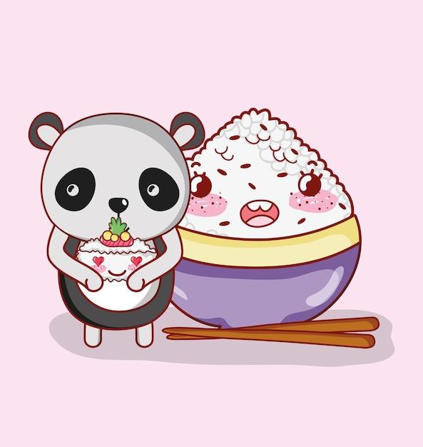 Panda e comida japonesa Vetor Premium