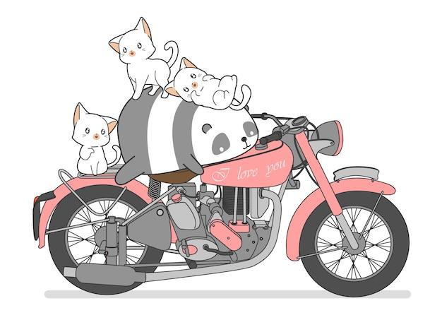 Panda e gatos do kawaii com motocicleta. Vetor Premium