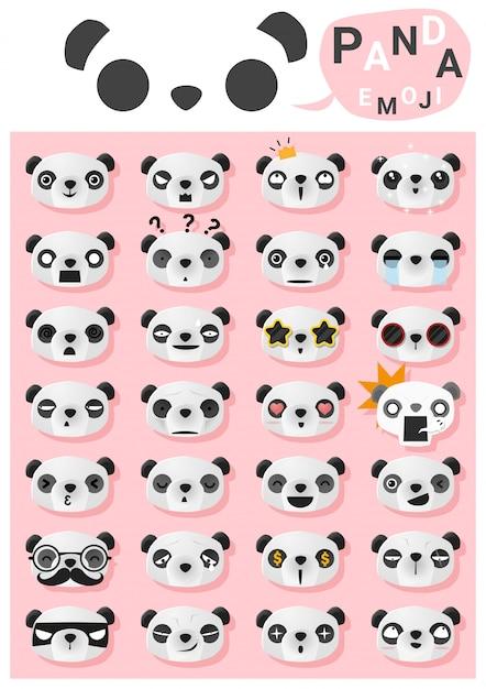 Panda emoji emoticon Vetor Premium