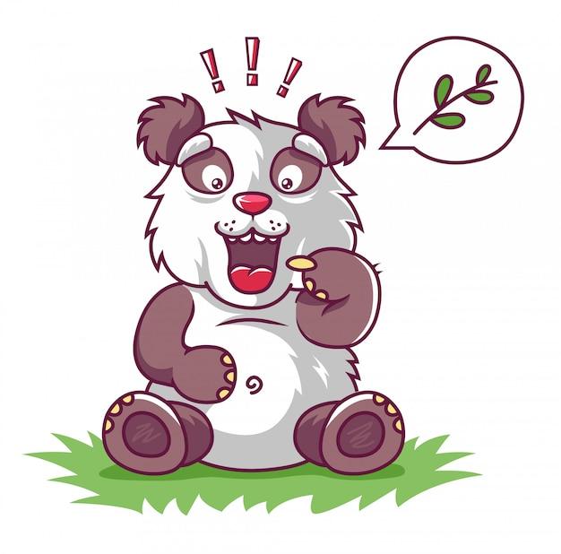 Panda faminto pede para comer. Vetor Premium