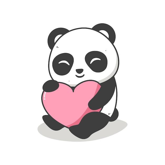 Panda fofo abraçando um coração de branco Vetor Premium