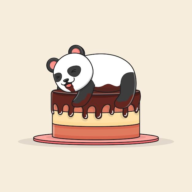 Panda fofo com bolo de chocolate Vetor Premium