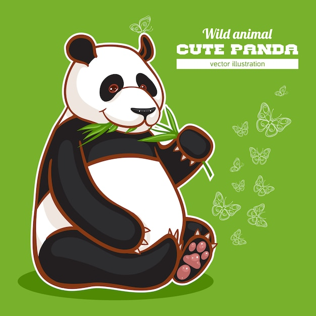 Panda fofo e borboletas Vetor Premium