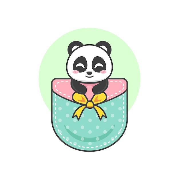 Panda fofo no bolso Vetor Premium