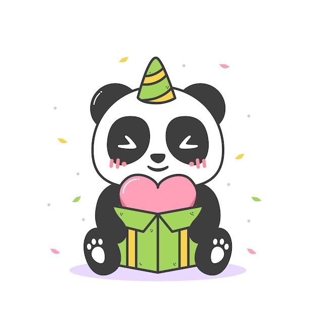 Panda fofo segurando uma caixa de coração Vetor Premium