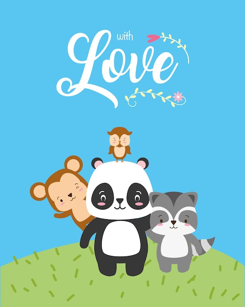 Panda, macaco e coruja, animais fofos com palavra de amor, estilo simples Vetor grátis