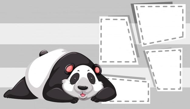 Panda no modelo de nota Vetor grátis