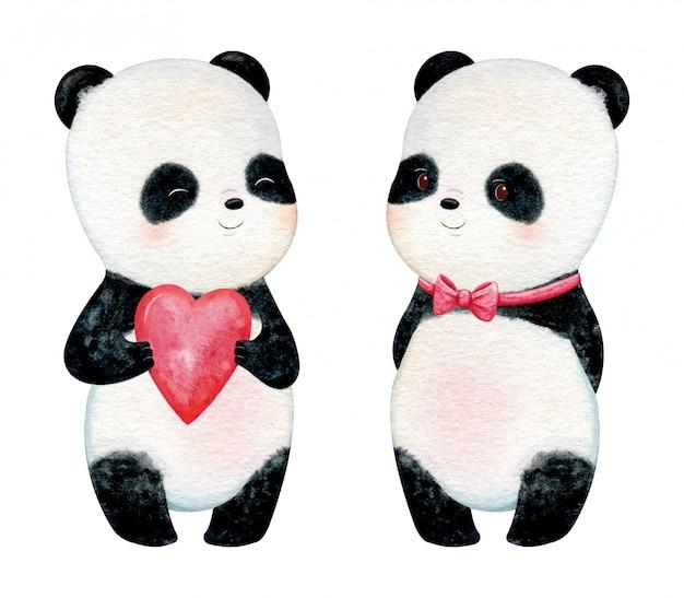 Panda pequeno bonito com bochechas rosas. ilustração em aquarela de pintados à mão Vetor Premium