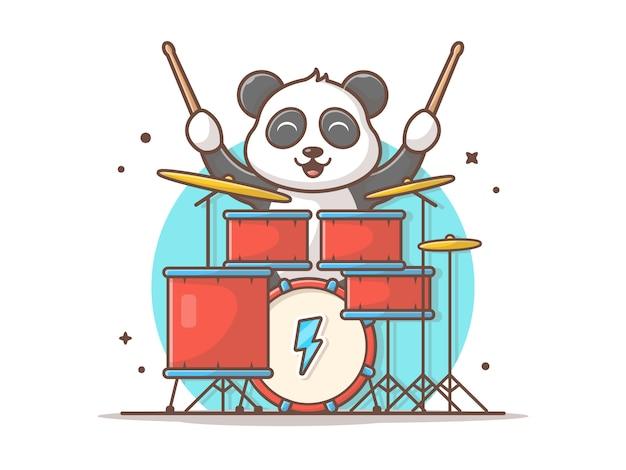 Panda playing drum bonito com ilustração do ícone do vetor da música da vara. bonito baterista do bebê panda mascot. animal e música ícone conceito branco isolado Vetor Premium