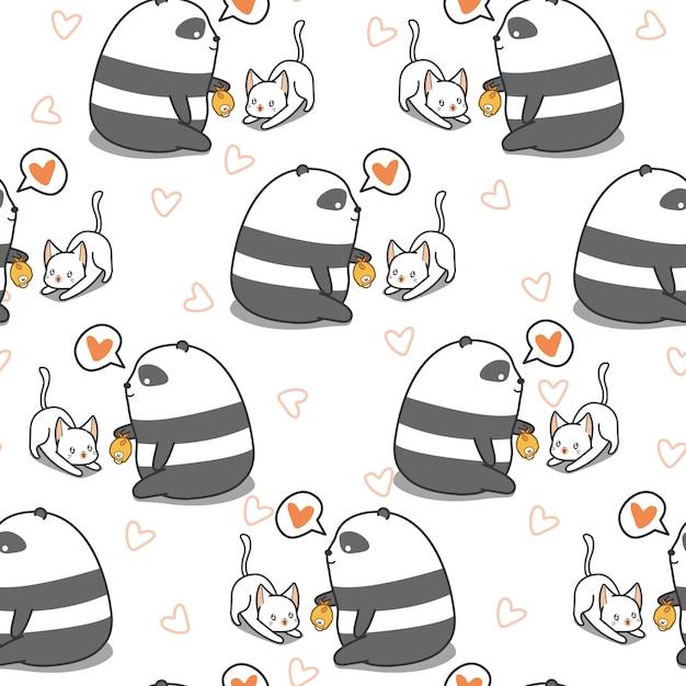 Panda sem costura está alimentando o padrão de gato. Vetor Premium