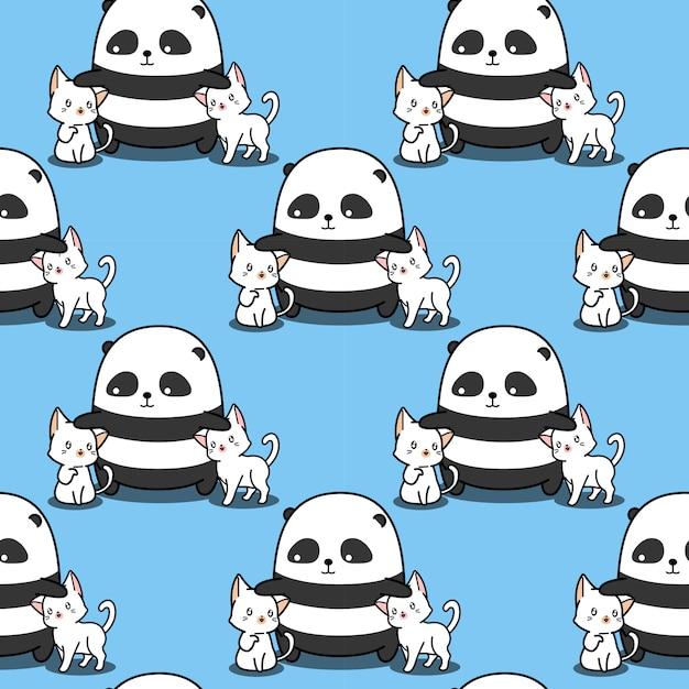 Panda sem emenda adora gatos padrão. Vetor Premium