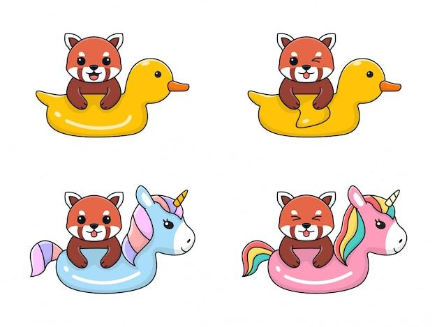 Panda vermelho bonito com pato de anel de natação e unicórnio Vetor Premium