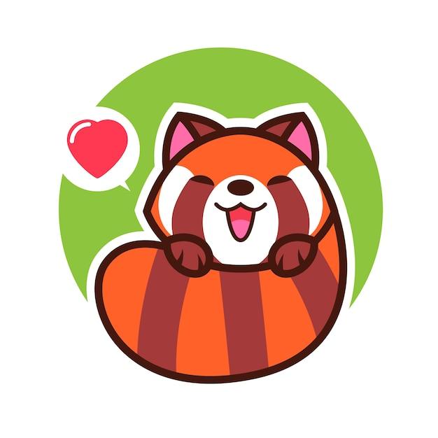 Panda vermelho cartoon ilustração em vetor kawaii Vetor Premium