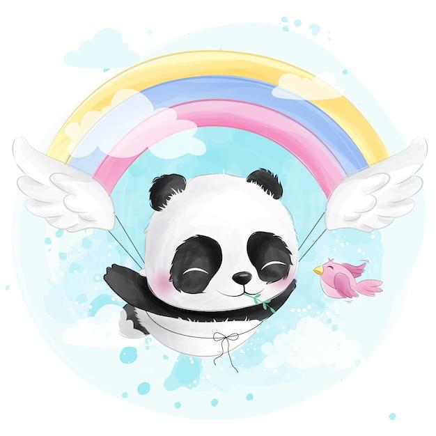 Panda voador fofo com arco-íris Vetor Premium