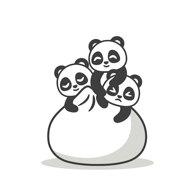Pandas fofos com um grande bolinho Vetor Premium