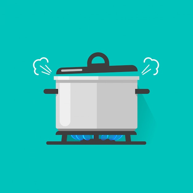 Panela com vapor no fogão a gás fogo cozinhar alguma ilustração em vetor comida a ferver isolada Vetor Premium