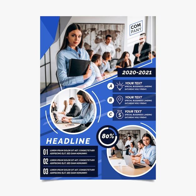 Panfleto comercial abstrato com foto Vetor Premium