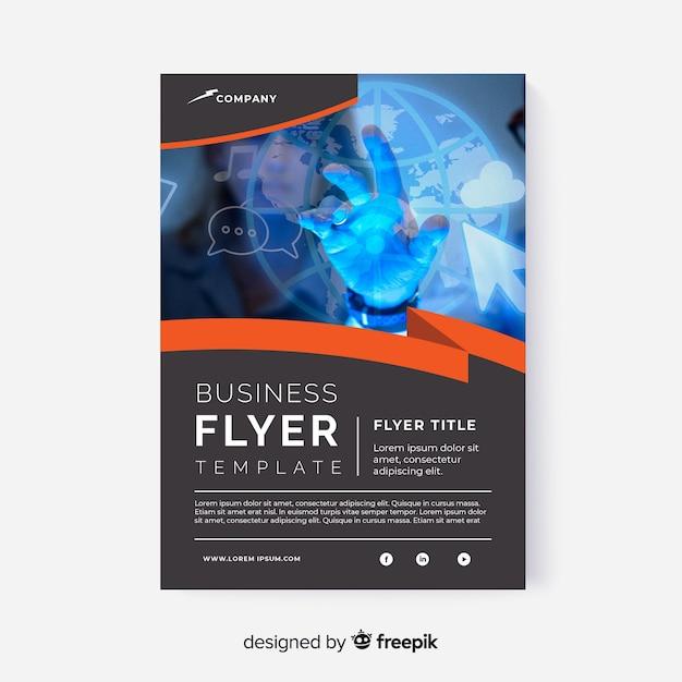 Panfleto comercial abstrato com modelo de imagem Vetor grátis