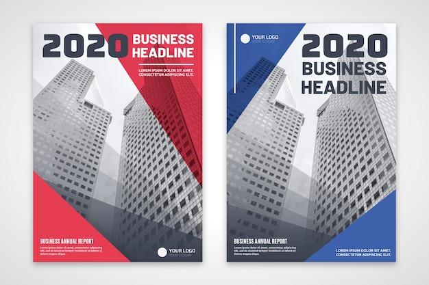 Panfleto comercial de vermelho e azul com edifícios Vetor grátis