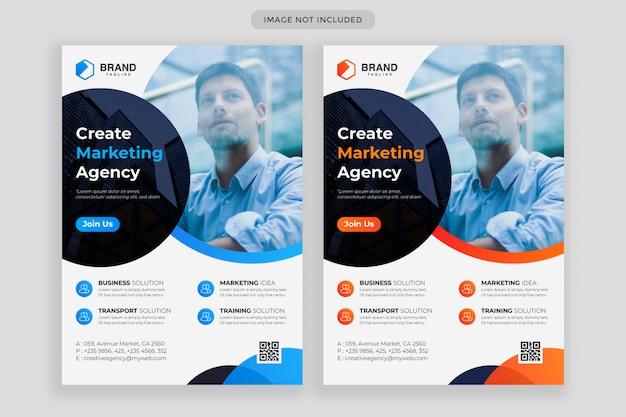 Panfleto comercial qr code design de modelo Vetor Premium