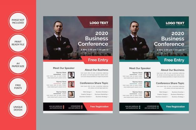 Panfleto da conferência Vetor Premium