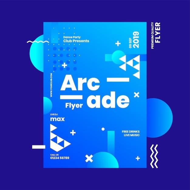 Panfleto de arcade ou modelo de design de publicidade com elemento abstrato sobre fundo azul. Vetor Premium