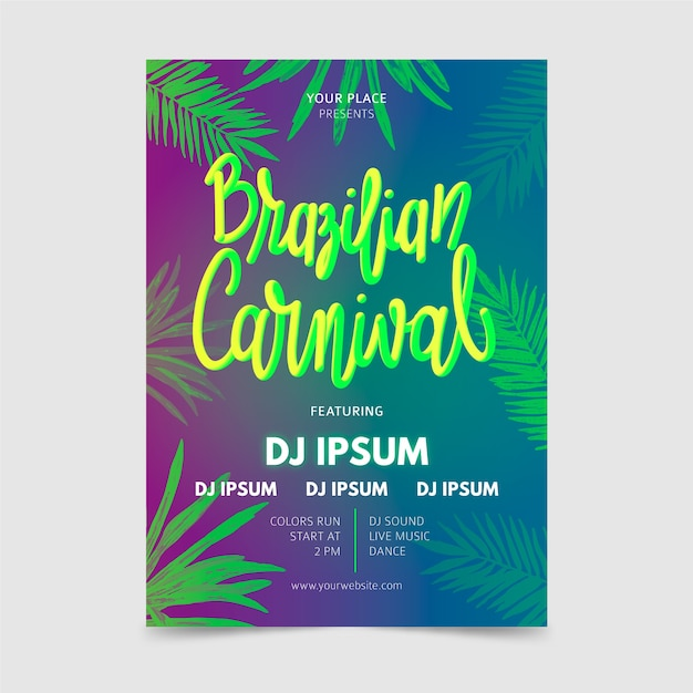 Panfleto de carnaval brasileiro de mão desenhada com folhas tropicais Vetor grátis