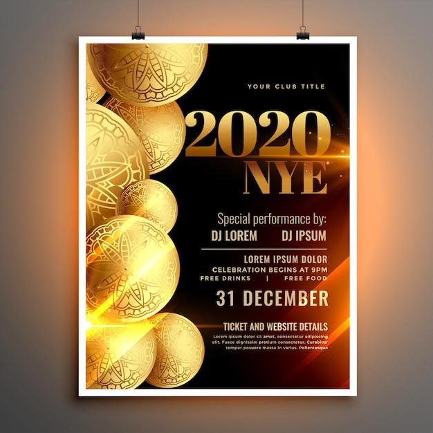 Panfleto de celebração elegante feliz ano novo ou modelo de cartaz Vetor grátis
